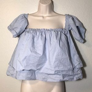 Chocolate light blue ruffled crop top